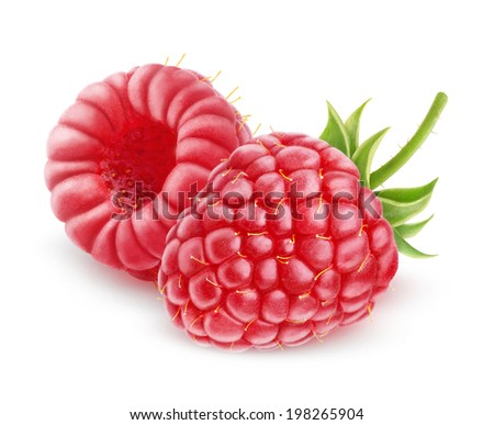 Two fresh raspberries over white background - stock photo