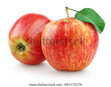 Two fresh red apples with leaf isolated on white background with clipping path