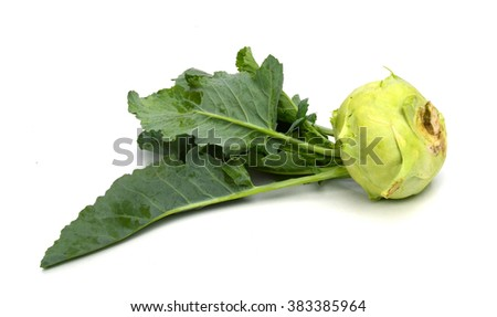 Two fresh ripe organic kohlrabi vegetable on white background also scientifically known as Brassica oleracea of gongylodes group - stock photo