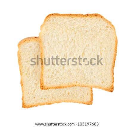 two fresh slices of wheaten bread, on white background