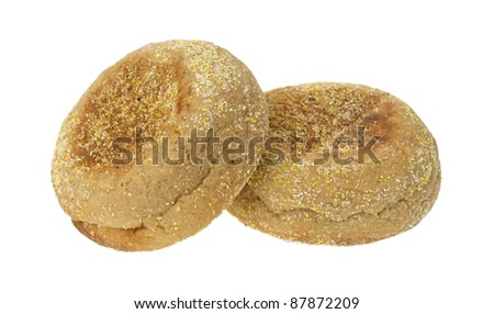 Two fresh whole wheat organic English muffins on a white background. - stock photo