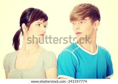 Two friend looking each other. - stock photo