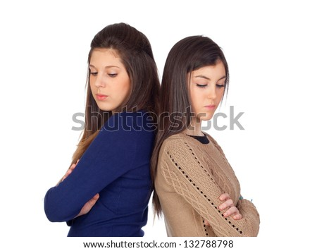 Two friends angry for some reason isolated on white background - stock photo