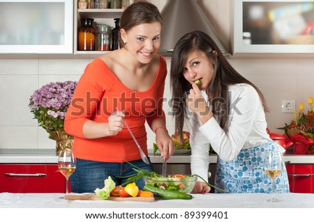two friends cooking together - stock photo