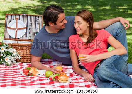Two friends holding glasses while looking into each others eyes and lying on a blanket with a picnic basket - stock photo