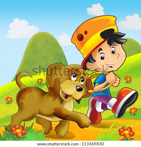 Two friends on the trip - the boy and the dog - happy scene - illustration for the children