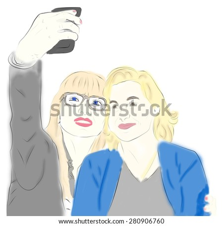 Two friends taking Selfie Photo on Smart Phone. Two young modern women. Fashion illustration. Technology image.
