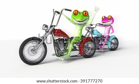 Two Frogs Riding Motorcycles - Comical pink and green frogs speeding along on motorcycles. - stock photo