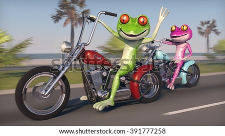 Two Frogs Riding Motorcycles - Comical pink and green frogs speeding along the coast on motorcycles. - stock photo