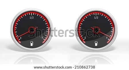 Two fuel dial meters with Empty and Full isolated