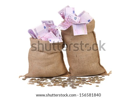 Two full sacks with money and coins. Isolated on a white background. - stock photo