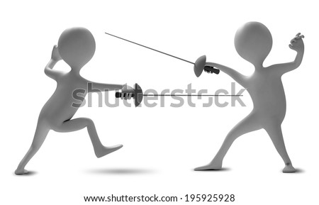 Two funny characters compete in fencing. Illustration on a white background