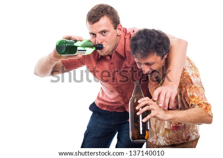 Two funny drunken men with bottle of alcohol, isolated on white background - stock photo