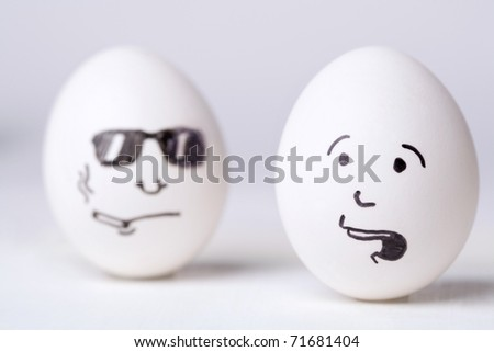 Two funny eggs - stock photo