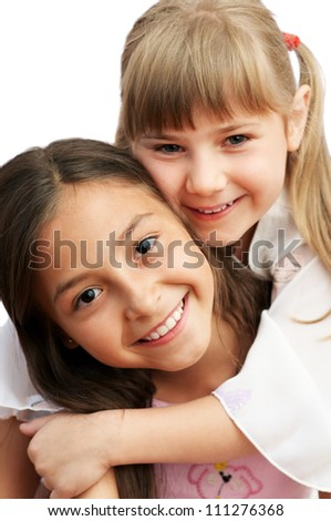 two funny girls happy