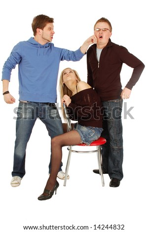 Two funny guys and a girl sitting on a chair