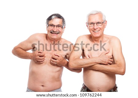 Two funny naked senior men showing body, isolated on white background.