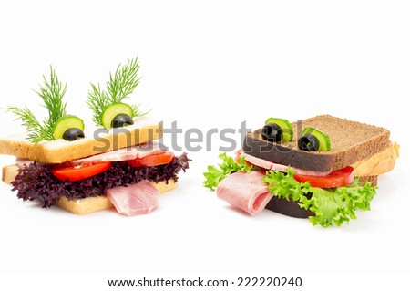 Two funny sandwich for child, isolated on white background. - stock photo