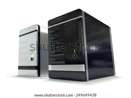 Two futuristic web hosting server racks isolated on white background - stock photo