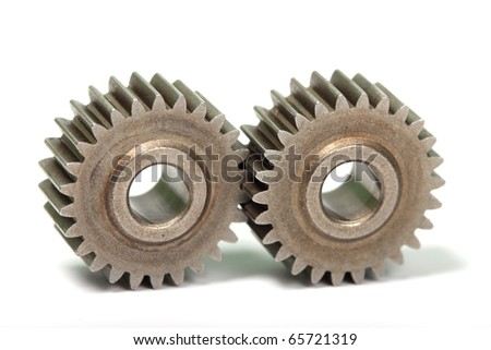 Two gears. Close-up.
