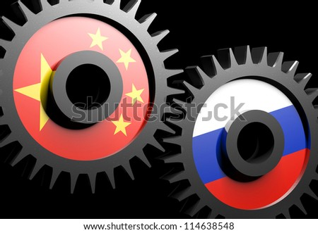 Two gears with the flags of China and Russia - stock photo