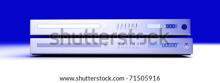 Two generic blu-ray devices. 3D rendered Illustration. - stock photo