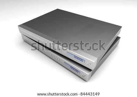 Two generic bluray devices. 3D rendered Illustration. - stock photo