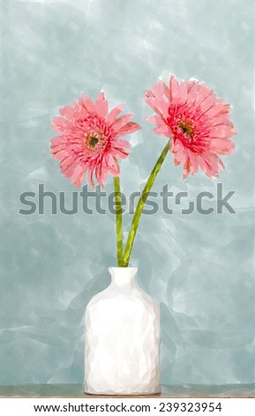 two gerbera flowers  in white vase ,water color design for background - stock photo