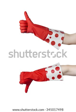 Two gesturing hands  in red rubber glove expressing yes and no isolated on white background. Photo set. - stock photo