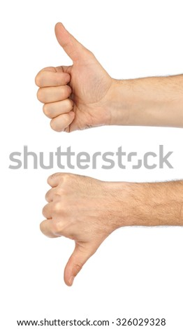 Two gesturing hands isolated on white background - stock photo