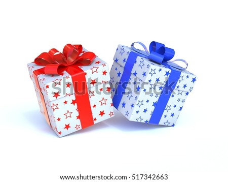 Two gift boxes 3d rendering