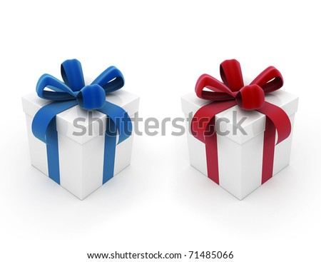 Two gift boxes red and blue on white background - stock photo