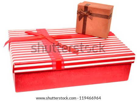 Two gift boxes with presents paper, isolated on white - stock photo