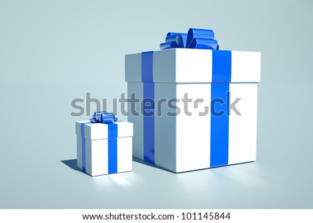 two gifts on a blue background - stock photo