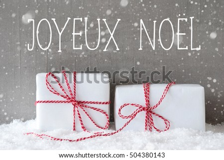 Two Gifts With Snowflakes, Joyeux Noel Means Merry Christmas
