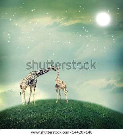 Two Giraffes, mother and child in friendship or love theme image at a fantasy landscape - stock photo