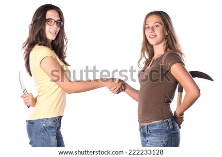 Two Girl Friends Argument on White Isolated Background - stock photo