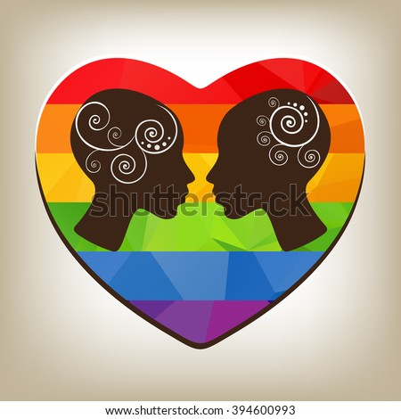 Two girl heads with polygonal heart on a gray background.