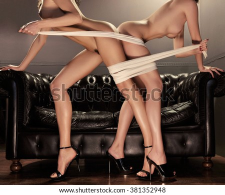 two girlfriends sensual passion - stock photo
