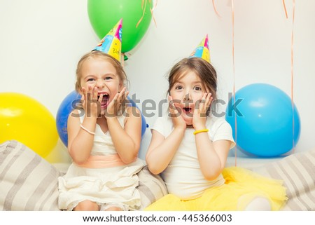 Two girls at birthday party