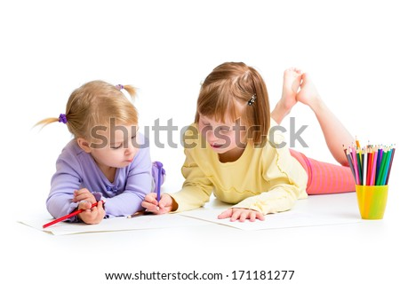 two girls drawing with color pencils together over white