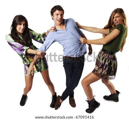 Two Girls fighting over a guy - stock photo