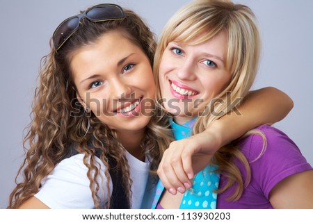 Two girls girlfriends having fun together