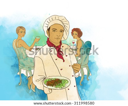 Two girls in a restaurant waiting for the chef - stock photo