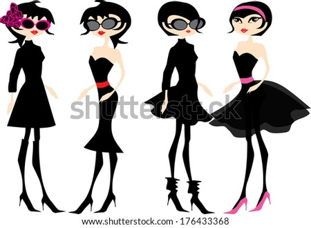 Two girls in different kinds of little black dress, raster version - stock photo