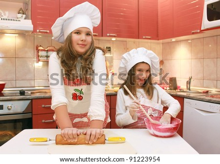 Two girls in the kitchen
