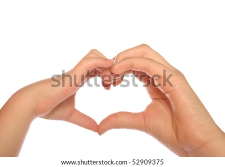 Two girls of different age making a heart with their hands - stock photo