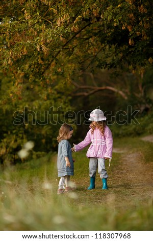 Two girls put up - stock photo