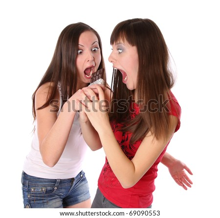 two girls with chocolate. Isolated at white background