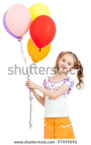 Two girls  with colorful balloons in hands. Isolated on white.